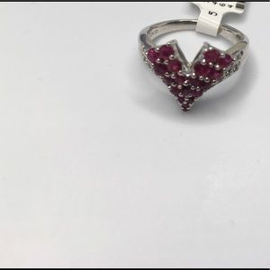 V shaped Ruby and CZ accents Ring